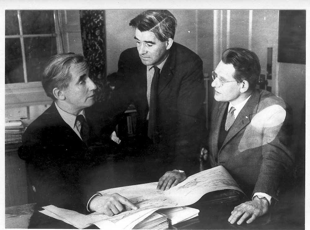 Trustees Hew Lorimer, Tommy Murray and Bill Jack looking at plans, 1969